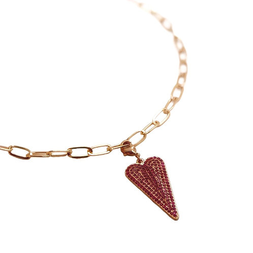 "Marlyn Schiff 36"" Gold Charm Necklace with Pave Heart"