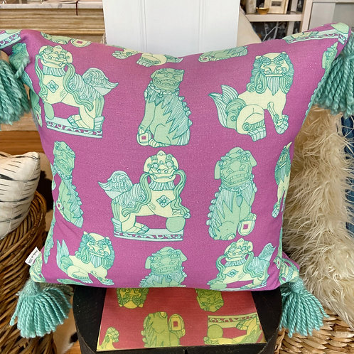 "Cotton and Quill ""Bel Air"" pillow with turquoise tassels"