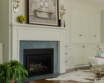 Sitting area with fireplace designed by Robin Gannon Interiors