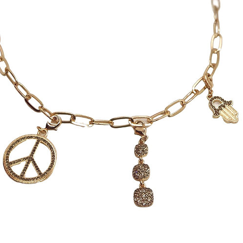 "Marlyn Schiff 18"" Gold Charm Necklace w/Three Charms"