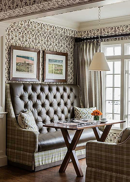 Leather banquette at Inn at Hastings Park designed by Robin Gannon Interiors