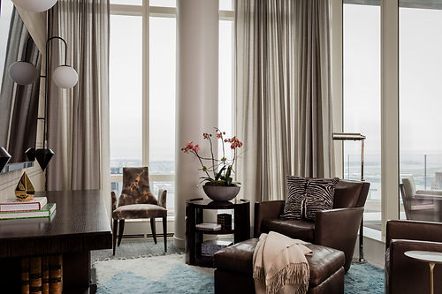 Boston modern penthouse den designed by Robin Ganno