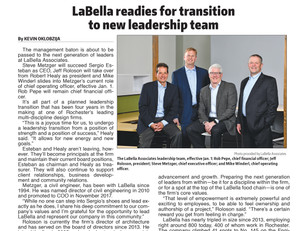 LaBella's Leadership Transition Announcement Featured in the RBJ