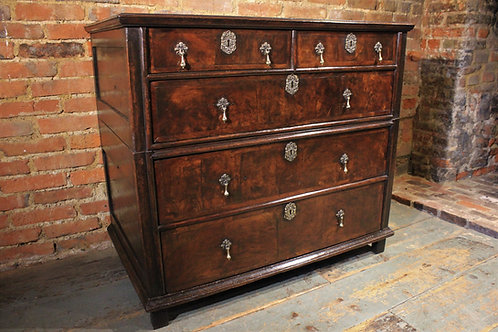 17th century walnut fronted chest of drawers
