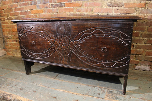 Unusual 17th century carved coffer