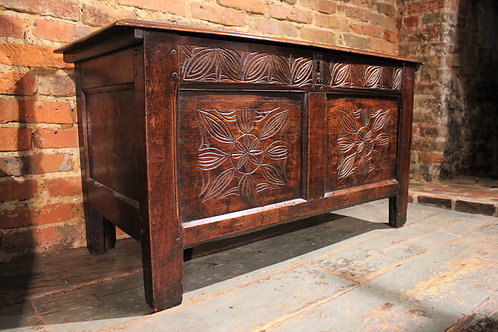 Small 17th century fruitwood and elm coffer