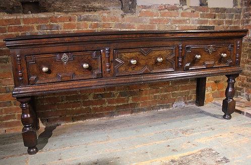 17th century oak low dresser base