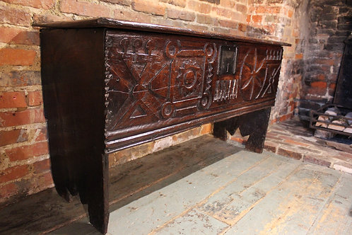 Unusual 17th century oak carved coffer