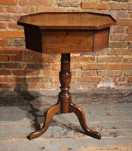 Unusual 18th century oak tripod work table