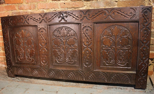 17th century carved oak coffer front