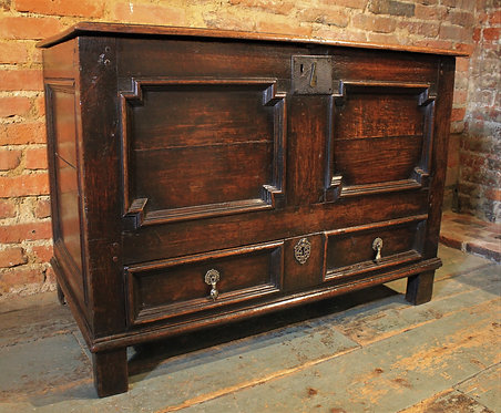 17th century oak mule chest