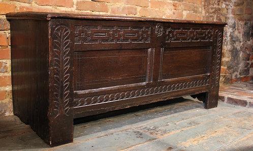 Unusual 17th century oak coffer