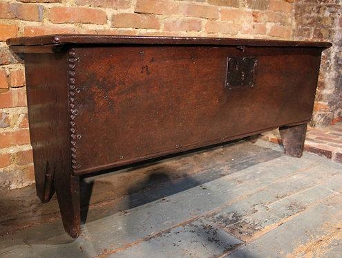 Early 17th century oak plank coffer