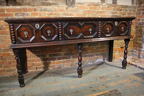 17th century oak open low dresser