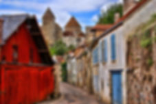 Beautiful Burgundy street with ancient t