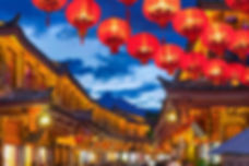 Lijiang old town in the evening with cro