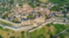 Aerial top view of Carcassonne medieval