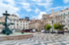 Rossio square with fountain located at B