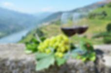 Wine glasses against vineyards in Douro