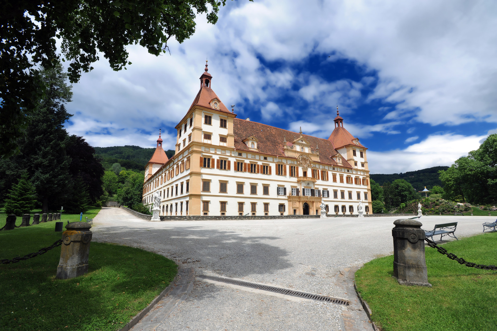 Eggenberg castle in Graz, entrance view