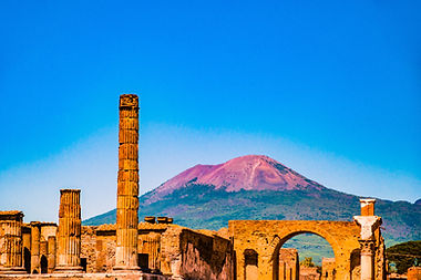 The famous antique site of Pompeii, near
