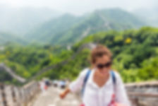 China travel at Great Wall. Tourist in A