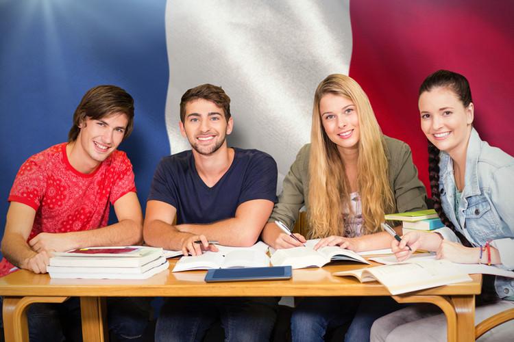 Students studying against digitally gene