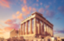 Parthenon temple on a sunset with pink a