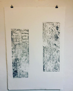 """Bilingual,"" Relief Print, 2018, work in progress"