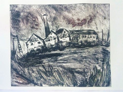 _Seek a Stinging_ (monotype from drypoint) _#etching #drypoint #monotype #printmaking