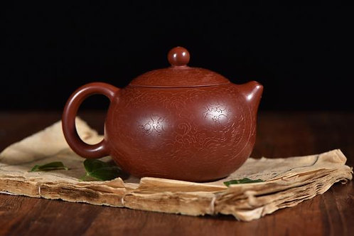 "Da Hong Pao Clay ""Etched Xi Shi"" Yixing Teapot"