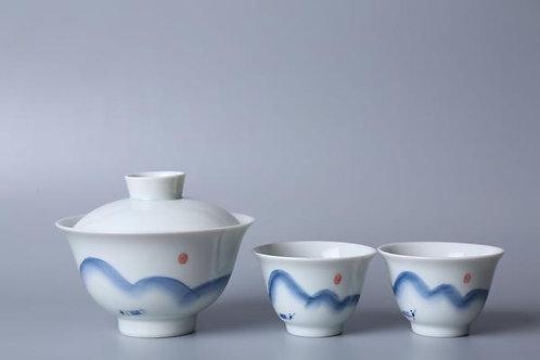 Li River Fishing Gaiwan and Cups (2)