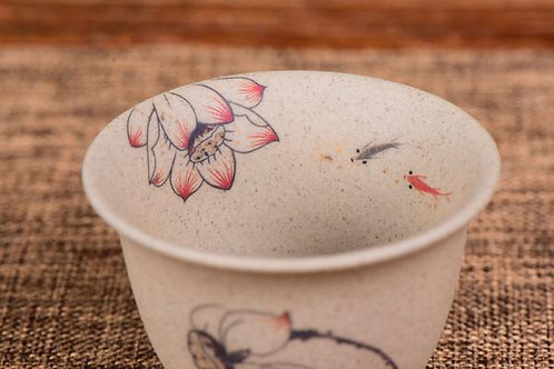 Lotus Flower and Gold Fish Clay Cups (2)