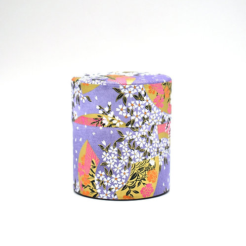 Purple Fan Japanese Washi Tea Tin