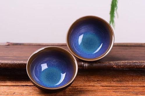 Blue Dragon Eye Glazed Cups (2)