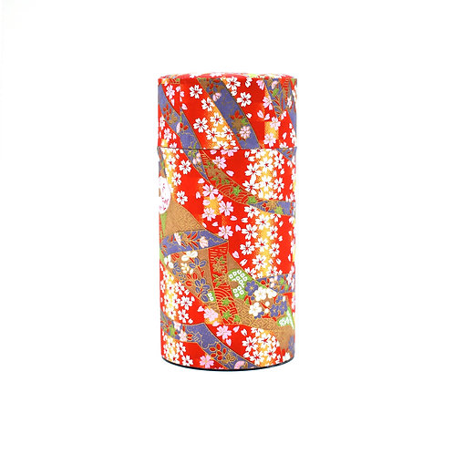Akai Matsuri Red Japanese Washi Tea Tin