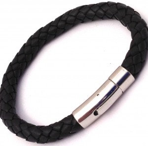 8mm Leather Braid Black Brushed Finish