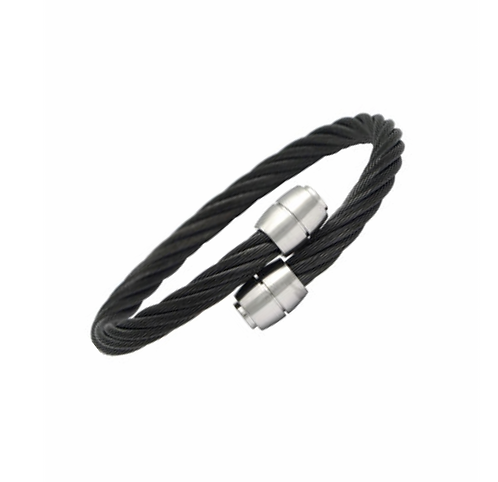 Stainless Steel Black Cable Bangle