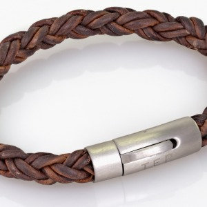 8mm Leather Round Braid Brown Brushed Finish