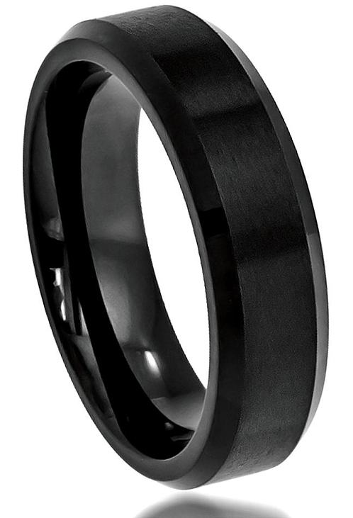 Tungsten Ring – Black Ice – 6mm wide
