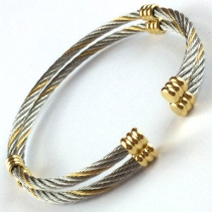 Stainless 2 Wire Cable Bangle w/Gold Accents
