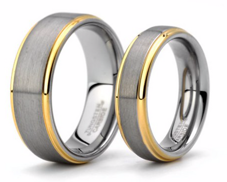 Brushed Tungsten Ring – Satin Finish top with Gold step Edges – 6mm or 8mm Wide