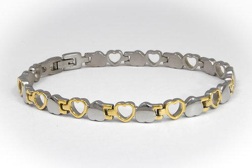 Titanium Hearts Polished Bracelet - 2 Tone or Silver