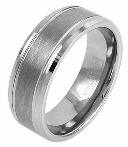 Silver Brushed Tungsten Ring – Satin Finish Center Polished Edges – 8mm wide