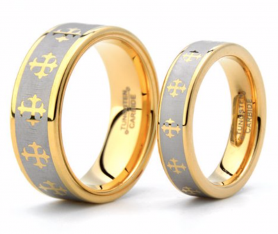 Gold Cross Tungsten Ring – 6mm & 8mm Wide