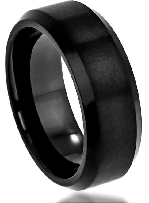Black Tungsten Ring – Satin Finish top with Beveled Edges – 8mm wide