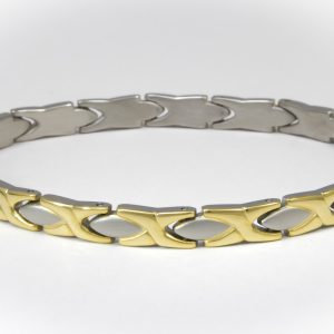 Titanium X and Oval Bracelet / Anklet - 2 Tone or Silver