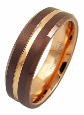 Bronze Matte Tungsten Ring w/ Rose Gold Stripe – 8mm wide