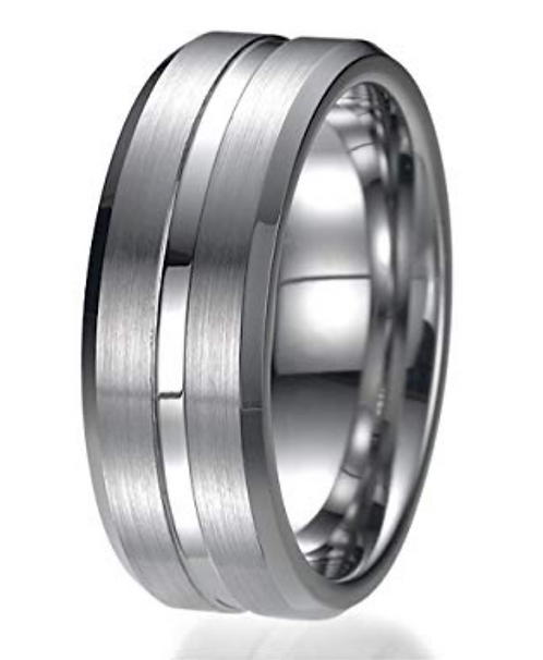 Silver Stripe Tungsten Ring – Silver Stripe and Beveled Edges – 8mm wide