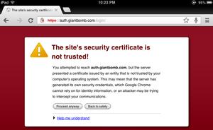 security certificate error message